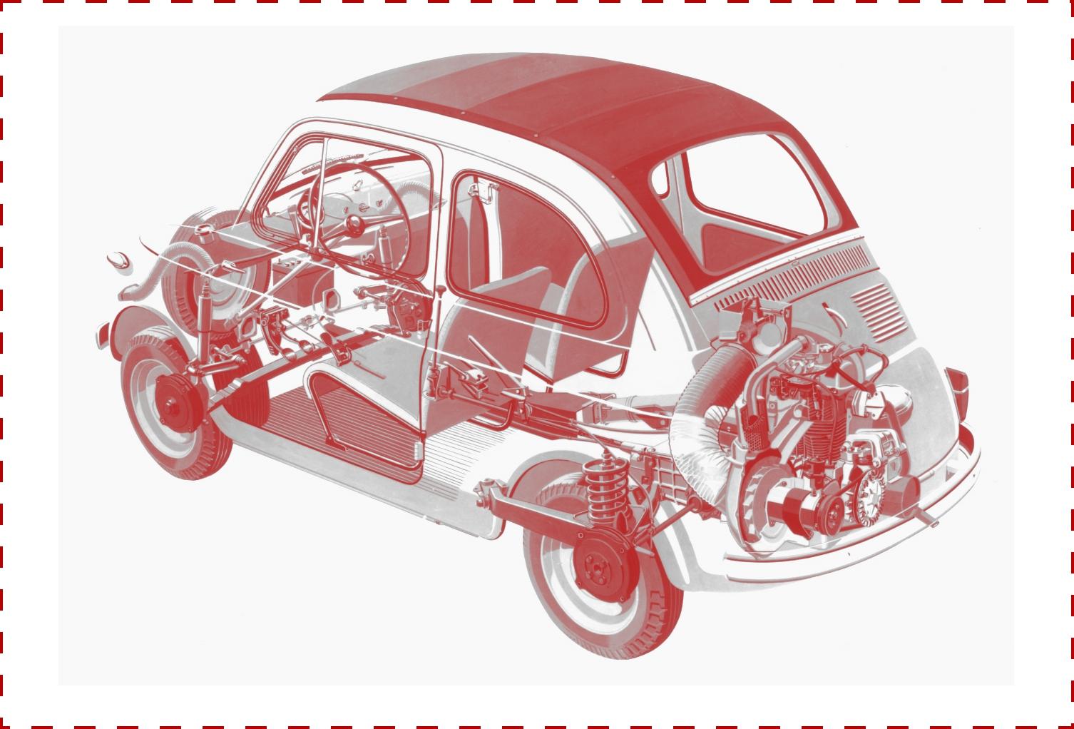 Fiat 500 vue aux rayons x moteur et mécanique